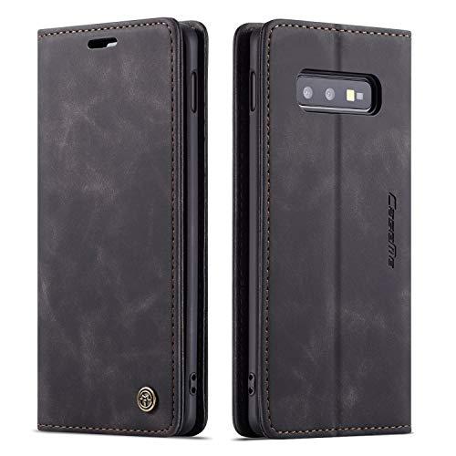 Schutzhülle für Samsung S, Leder, Vintage-Stil., Samsung Galaxy S10e, schwarz