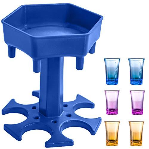 AIEOE 6 dispensadores de vasos de chupito y soporte, dispensador portátil para rellenar líquidos, accesorios para juegos de beber, regalos de fiesta, inicio rápido de la fiesta