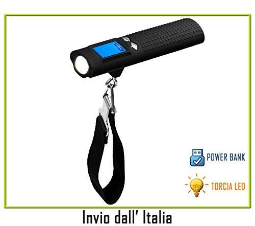 newnet Bilancia per Valigia Bagagli Digitale Portatile-capacità Max 50kg-Power Bank 2600mAh - Torcia LED - Viaggio e Casa
