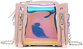 SGJFZD New Women's Shoulder Bag Transparent Fashion Design Bag Jelly Bag Laser Bucket Shoulder Bag Chain Messenger Bag (Color : Clear, Size : S)