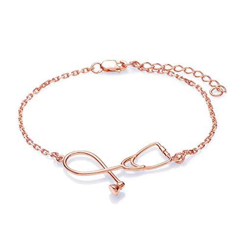 LPOQW Pulsera de estetoscopio con cadena ajustable para médicos, amigos, corazón, para mujeres, regalo del día de enfermeras, oro rosa