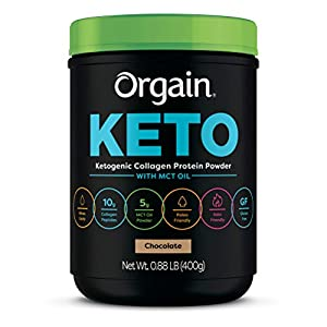 Orgain Keto Collagen Protein Powder with MCT Oil, Chocolate - Paleo Friendly, Grass-Fed Hydrolyzed Collagen Peptides Type I and III, Dairy-Free, Lactose-Free, Gluten-Free, Soy Free, 0.88 Pound