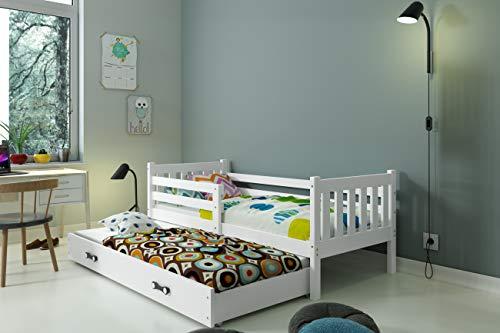 CAMA INFANTIL NIDO para colchón 190X90 y 180x80 (del cajón) 'CARINO' ,2 somieres GRATIS! 2 COLCHONES DE ESPUMA GRATIS!color BLANCO