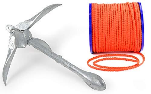 wellenshop Klapp-Anker 1,5 kg + Ankerleine 15 m Ø 8 mm Schwimmfähig Kunststoff Polyethylen PE Orange Faltklappanker Faltanker Stahl Verzinkt