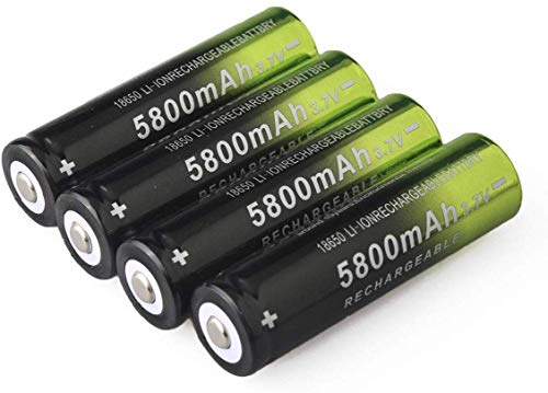 Rechargeable Batteries, 3.7V Li-ion, Button Top Battery, for Flashlight Headlamp, Size:18x65mm (4 PCS)