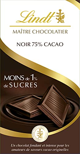 Lindt - Tablette 75% Cacao Moins de 1% de Sucres MAÎTRE CHOCOLATIER - Chocolat Noir - 100g