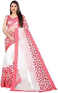 Neerav Exports Embroidery Net Work Saree (White)