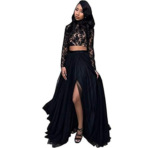 CCBubble Two Piece Prom Dresses High Neck Long Sleeves Lace Prom DressCXY573-Black8 (Apparel)
