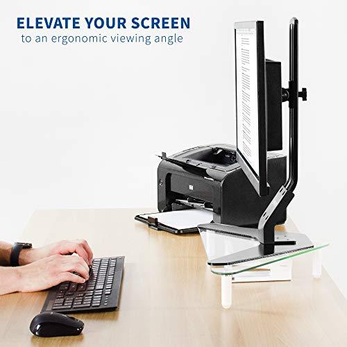 VIVO Glass Ergonomic Tabletop Riser, Triangle Desktop Universal Corner Stand for Computer Monitor and Laptop STAND-V000Q Photo #9