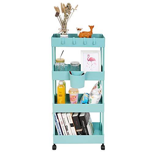BOMKEE - Carrello portaoggetti sottile a 4 ripiani, per cucina, bagno, lavanderia, ufficio (blu verde)
