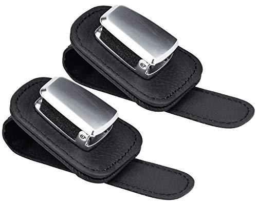 DESON 2 STK Auto Brillenhalter Sonnenblende Brillenhalterung Universal Auto Visier Sonnenbrille Halter Clip Schwarz Leder Multifunktions Auto Sonnenbrillenhalter