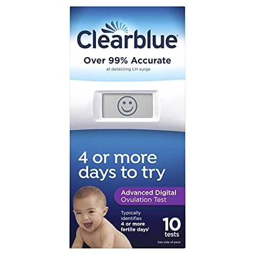 Clearblue Advanced Digital Ovulation Test, Predictor Kit, featuring Advanced Ovulation Tests with digital results, 10 ovulation tests