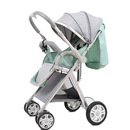 MMM @ La poussette de bébé de paysage élevé manipule les poussins réversibles de bébé peut s'asseoir et mentir le chariot pliable portatif de l'enfant d'Ulttralight chariot ( Color : Mint Green (2) )
