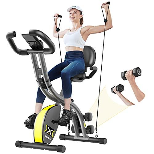 pooboo Folding Exercise Bike Adjustable Magnetic Resistance,Upright Recumbent Foldable Stationary Bike,Fitness Bike with LCD Monitor&phone holder, Dumbbells,Pull Rope