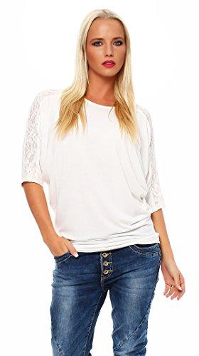 80-11 Damen T Shirt Tunika mit Spitze an Ärmeln Bluse Pulli Tunika Creme M