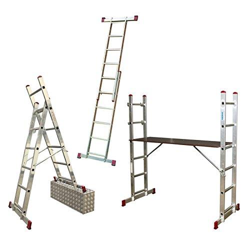 KRAUSE Corda Alu Leitergerüst 2x6 o 2x7 Sprossen Leitern Gerüst EN 131-1, Sprossenzahl:2 x 6 Sprossen