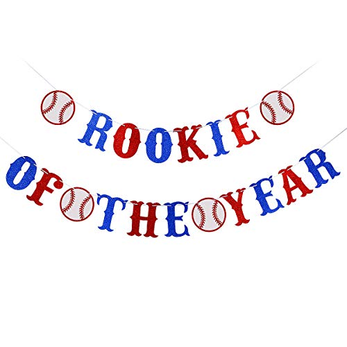 Glittery Rookie of The Year Banner- Baseballs Theme Kids Birthday Party Decorations- Boy Baseballs Theme Party Decor