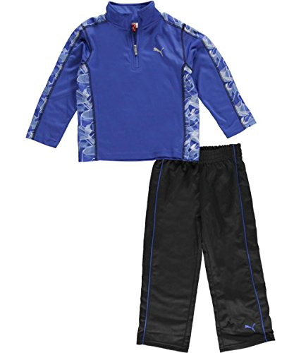 PUMA Little Boys 2 Piece Set, Long Sleeve Shirt and Track Pants (4T, Competition Blue)