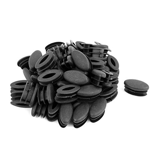 sourcingmap Casa Ufficio Ovale in plastica a forma di sedia tavolo gamba piedi Tubo di inserimento nero 50pz