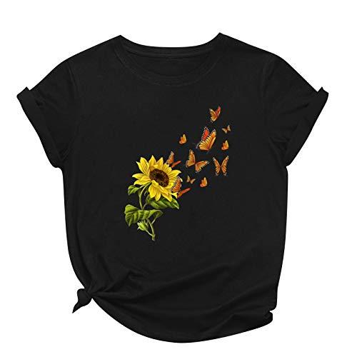 CHMORA La parte superior de las mujeres, Las mujeres de color puro girasol mariposa impresión manga corta suelta casual camiseta blusa para las mujeres