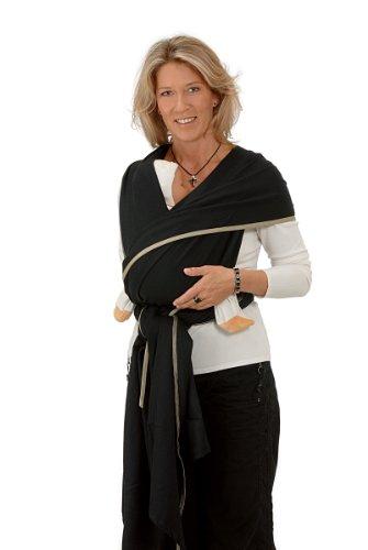 Hoppediz Kairo - Pañuelo portabebés, color negro Talla:Langes 4.6 x 0.7 m