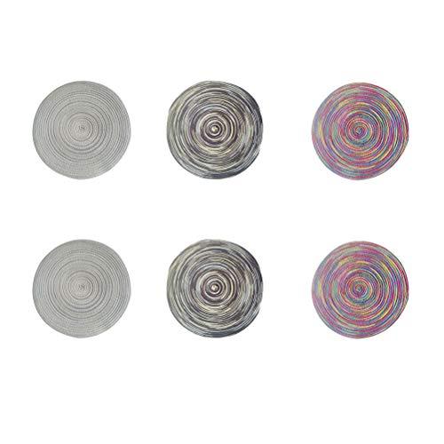 Bestonzon Lot de 6 sets de table ronds en polyester et coton tissés à la main antidérapants (couleur aléatoire)
