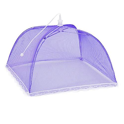 Gran pantalla de malla emergente para proteger la cubierta de alimentos, tienda de campaña, red domo, paraguas de picnic de malla de cocina, protección antimosca, protector de comida (color: púrpura)