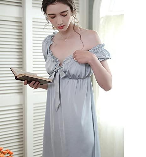STJDM Pyjama,Romantisches Satin Nachthemd Prinzessin Frau Nachtwäsche Sommer Kurzarm Kleid Fashion Vintage S blau
