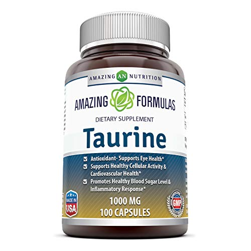 Amazing Formulas Taurine 1000mg Amino Acid Supplement 100 Capsules (Non GMO,Gluten Free) - Potent Antioxidant - Supports Eye Health, Healthy Cellular Activity & Cardiovascular Health