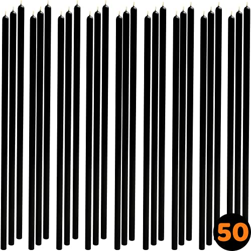 50 pcs 8' Black Thin-Taper Candles 100% Pure Beeswax Handmade - Natural Scent with Cotton Wick, Dripless, Smokeless, Non Toxic - for Dinner, Birthday Cake, Hanukkah, Christmas