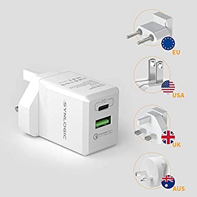 SYNLOGIC USB C Wall Charger, 30W PD Type C QC3.0 Charger with UK/USA/EU/AUS Worldwide Travel Charger Adapter International Plug Set for iPhone,iPad, Android, Tablets and More