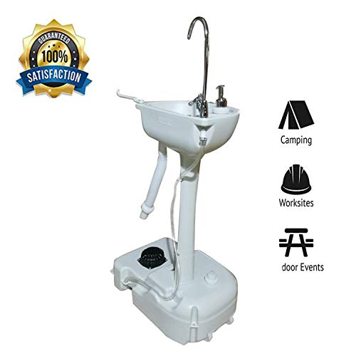 Portable Camping Sink with Towel Holder, Soap Dispenser, Rolling Stan, Foot Pump Faucet & Garden Pipe Joint White for Outdoor Events, Parties & More