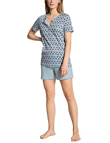 CALIDA Damen Blooming Nights Pyjamaset, Blue Fog, 36-38