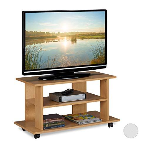 Relaxdays TV Board mit Rollen, 2 Fächer f. Fernseher, Konsole & Receiver, fahrbarer Fernsehtisch, HBT 45x80x40 cm, natur