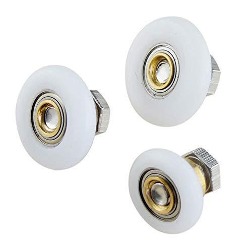 Rodillos de puerta de ducha de 4 tamaños, repuesto para puerta de baño, corredera de vidrio de 19 mm – 27 mm, rueda de rodillo para puerta de ducha con tornillo, 4 piezas