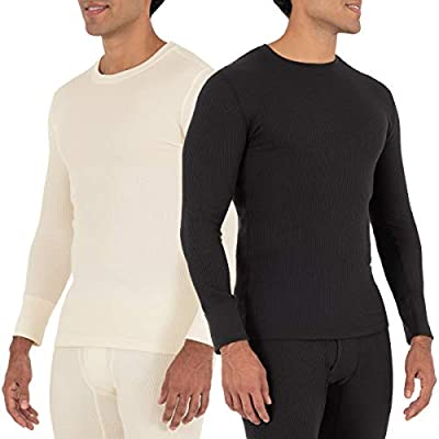 Fruit of the Loom Men's Recycled Waffle Thermal Underwear Crew Top (1 and 2 Packs), Black/Natural, Large