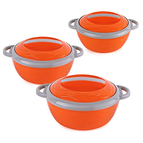 Cello Hot n Fresh Casserole Gift Set with Inner Steel - 500ml, 1000ml, 1500ml Set of 3, Orange