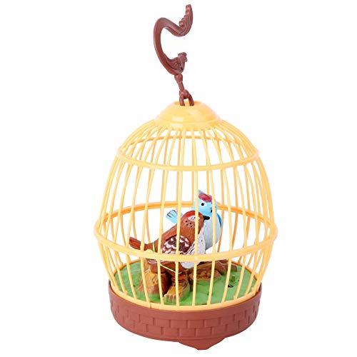 Tomaibaby Pájaro Cantor en Jaula Control de Voz Realista Pájaro Loro Estatuilla Movimiento Sonido Activado Chirrido Juguete Simulación Electrónica Jaula de Pájaros Juguete para Niños (Sin