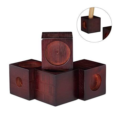 Relaxdays, Dunkelbraun Möbelerhöhung aus Bambus, Würfel im 4er Set, Tischerhöhung, Sockelfuß, Stuhlerhöhung, 9,4 cm groß