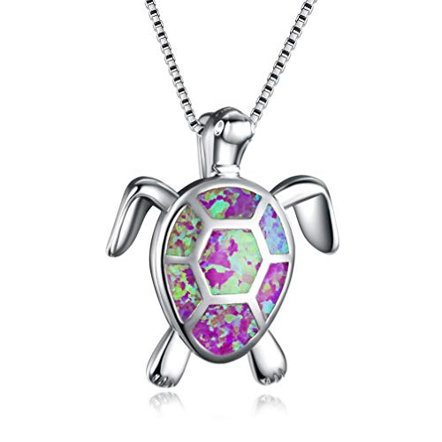 Hermosa Sea Turtle Necklace for Women Animal Charms Pendant Necklace Australian Opal Jewelry for Mom Gifts (Purple)