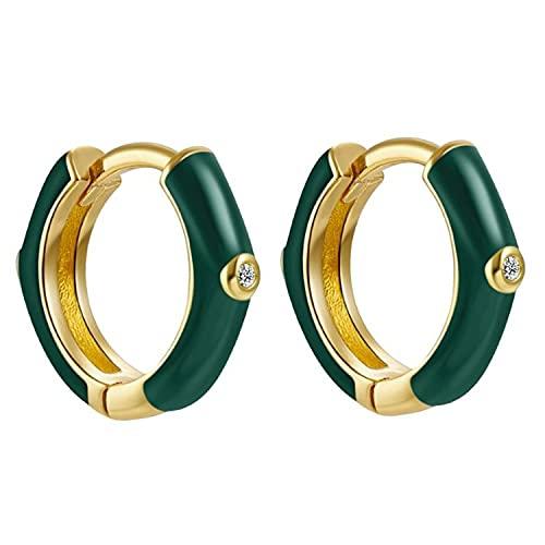 Pendientes Aros Aretes Mujer Plata de Ley 925 Mls Esmalte Verde Oscuro 12 mm Cierre Clip Piercings Circulo