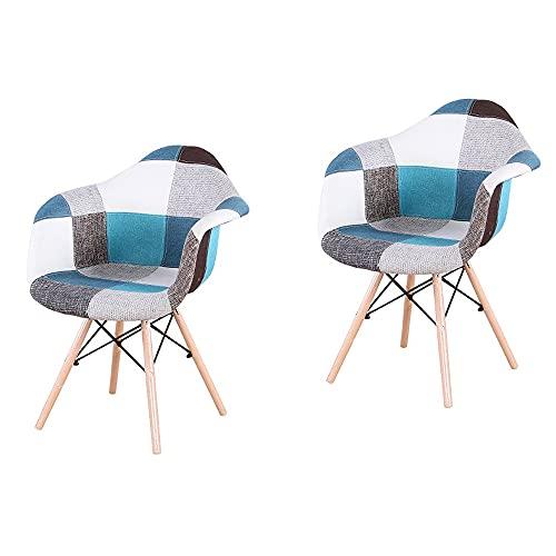 2er Set Küchenstuhl Polsterstuhl Esszimmerstühle, mit Metallrahmen und natürlichen Buchenholz Stuhlbeinen, mit Armlehne