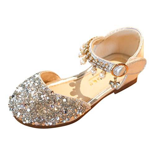 HLIYY Toddler - Zapatos de bebé para niña, para fiestas de princesa, baile en la sala de baile, tango danza latino; zapatillas de princesa, zapatos de piel, (plata), 26 EU