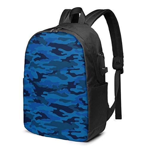 BGDFN Mochila unisex para adolescentes de 17 pulgadas USB de camuflaje multiusos para hombre casual mochila para la escuela