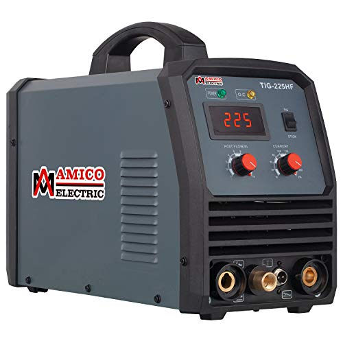 Amico TIG-225HF, 225 Amp TIG/Arc/Stick DC Welder, High Frequency & High Voltage 100% Start, 80% Duty Cycle Welding