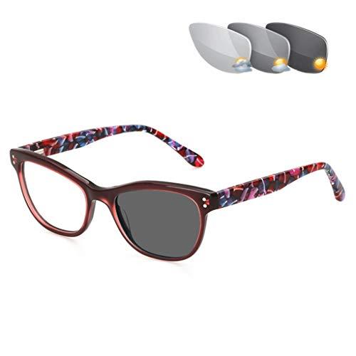 VOCD leesbril Progressive Multi-Focus Afstand en Nah Dual Use-kleurverandering Comfortabele Old Light-bril - Platte volledig Vrouwelijk