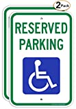 (2 Pack) Reserved Parking Sign, Handicap Parking Sign, with Picture of Wheelchair Sign, 18 x 12 Engineer Grade Reflective Sheeting Rust Free Aluminum, Weather Resistant, Waterproof, Durable Ink