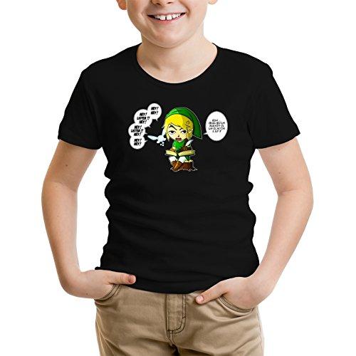 Okiwoki T-Shirt Enfant Noir Zelda parodique Link et la Fée Navi : Une fée Pratique mais agaçante. (Parodie Zelda)