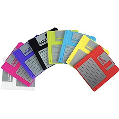 PHT Silicone Blanked Label Retro 3.5 Inches Floppy Disk All-weather Coasters , 4.7 X 3.6 , Set of 8