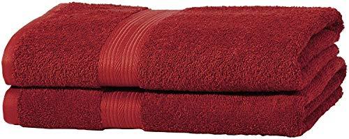AmazonBasics Handtuch-Set, ausbleichsicher, 2 Badetücher, rot, 100 Prozent Baumwolle 500g/m²